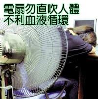 電風扇勿直吹人體